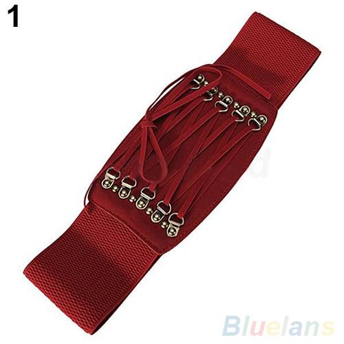 Bluelans Fashion Women's Lady Rivet Elastic Buckle Wide Waist Belt Waistband Corset