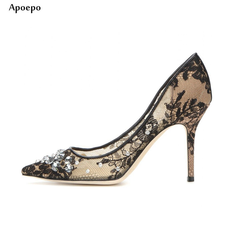 New Fashion Lace Embroidery High Heel Shoes Sexy Thin Heels Woman Pumps Crytsal Embellished Pointed Toe High Heels Dress Shoe new 2018 new fashion sexy pointed toe thin heels shoes bling bling glitter embellished ankle starp high heel shoe 16cm pumps
