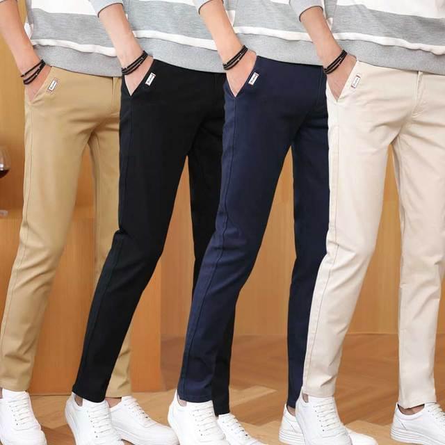 61909a09ead593 Di alta Qualità uomo Slim Affusolati Frontale Piatto Pantaloni Casual Chino  Cotone Lunghi Pantaloni Blu Royal
