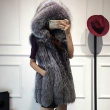 Меховой жилет имитация silver fox шуба с капюшоном жилет вертикальная полоса средней длины жилет крупных женщин размер