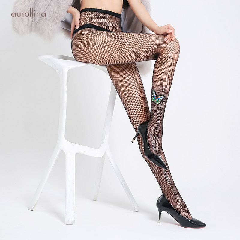 Black Opaque Glitter Butterfly Pattern Fashion Tights