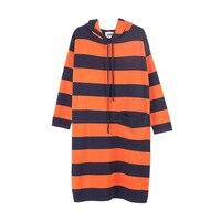 50kg 100kg Wear Knitted Dresses Women S Hood Sweaters Dress Warm Winter Long Sleeves Loose Pullovers
