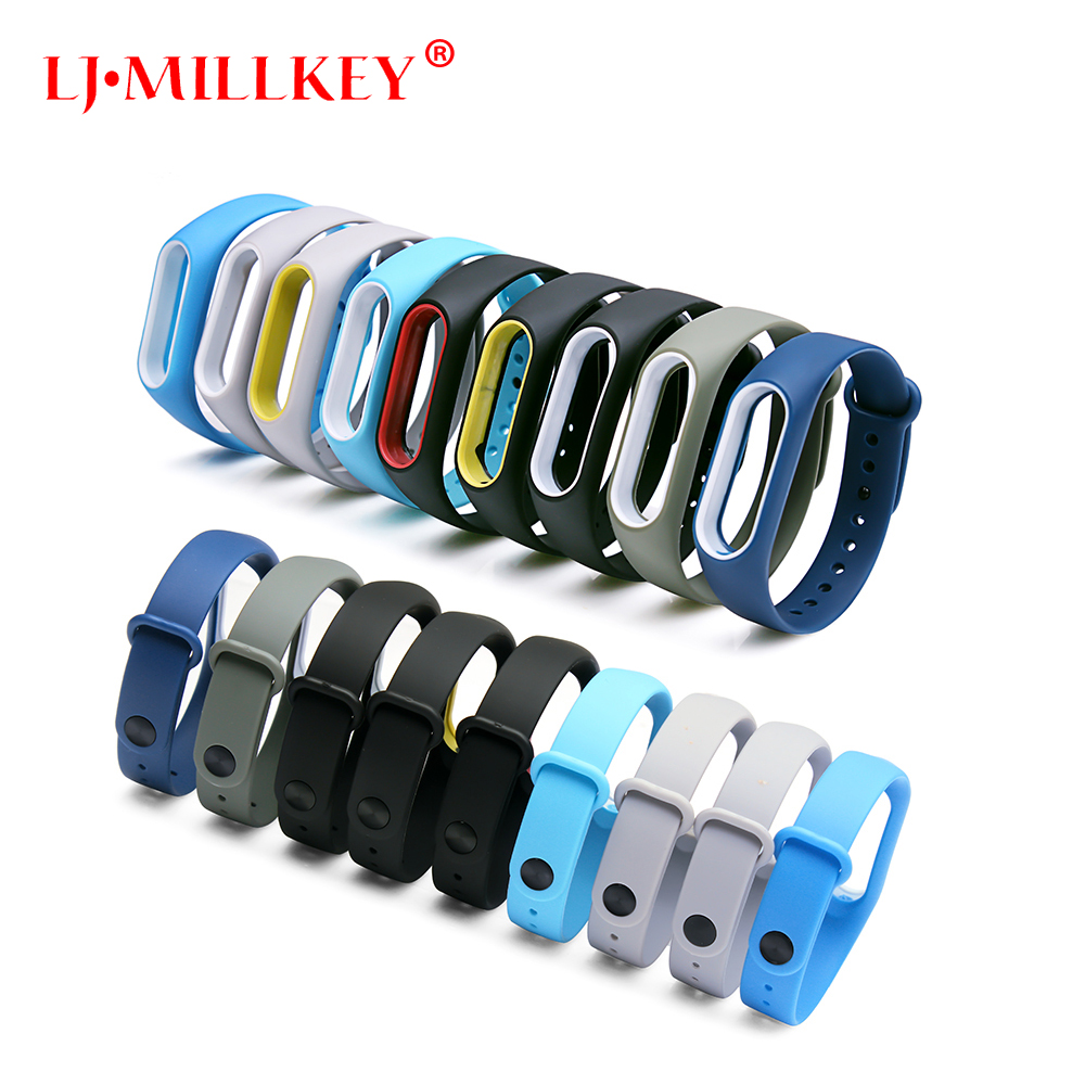 Colorful Silicone Wrist Strap Bracelet Double Color Replacement watchband for Original Miband 2 Xiaomi Mi band