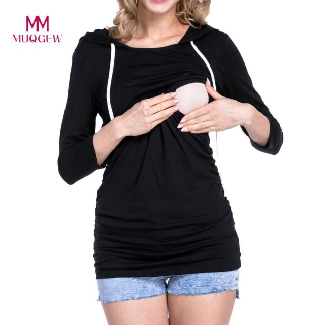 e89b2909957fc Women Maternity Clothes Nursing Tops Stitching Long Sleeve Clothing For  Pregnant Hooded T-Shirt Soft Comfortable Pregnant Tops