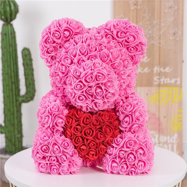Искусственные цветы розы Медведь собака кролик Мопс юбилей день Святого Валентина подарок на день рождения мать подарок Свадебная вечеринка украшение - Цвет: 40CM Pink Heart Bear