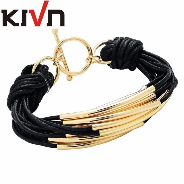 KIVN Fashion Jewelry Gold Color Tube Strands Womens Girls Statement Black  Leather Bracelets Birthday Gifts 6pcs Lot Wholesale 48fb030b1