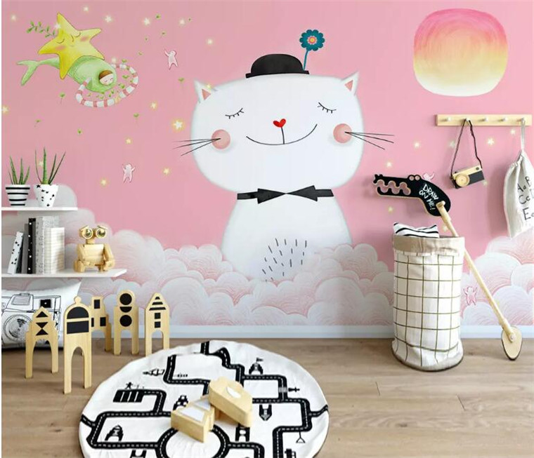 Customize Any Size 3d Photo Wallpaper Cute Pink Cartoon Cat Children Room Bedroom Living Room Background Mural Wallpaper Wallpapers Aliexpress