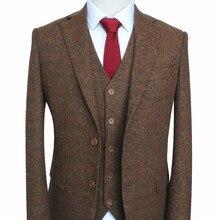 Мужской шерстяной Свадебный костюм на заказ, Классический смокинг для жениха(пиджак, брюки, жилет