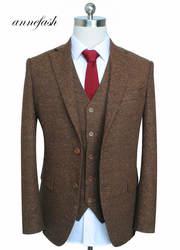 Мужской шерстяной Свадебный костюм, классический костюм жениха, смокинг (пиджак брюки жилет)