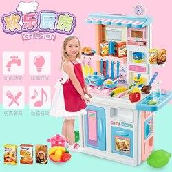 87cm Hoogte Kinderen Grote Keuken Set Pretend Play Speelgoed Koken Voedsel Miniatuur Spelen Doen Huis Onderwijs Speelgoed Cadeau voor meisje Kid D176