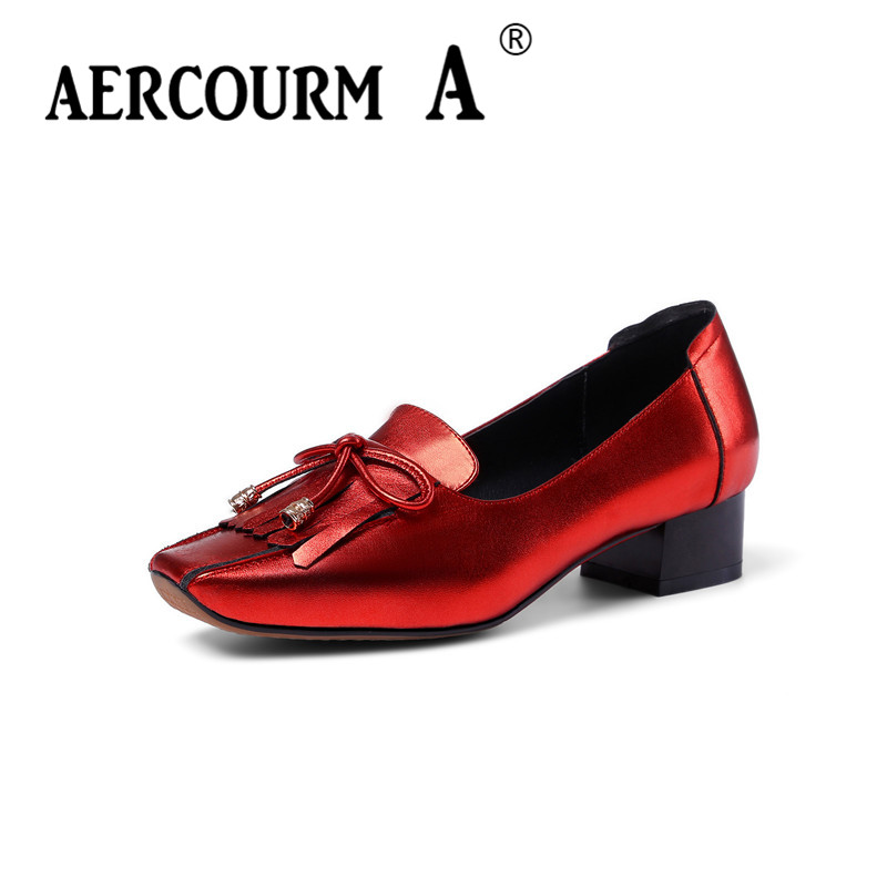 Aercourm A 2018 Women Tassel Shoes Women Retro Pumps Genuine Leather Shoes Square Head Low Heels Red Black Bows Shoes HYT6015 retro tiny bell tassel anklet for women