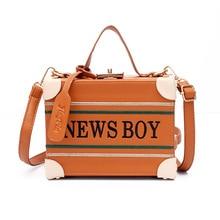 2017 new trunk style women handbag news boy print tote fashion women girls shoulder bag leather purse wallet bag