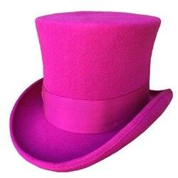 Rosa Delle Donne di COLORE ROSA Top Cappello Vittoriano Cappello a Cilindro Camino Pentola Steampunk Mad Hatter Cappello Toppper