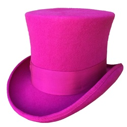 Rose PINK Women Top Hat Victorian  Cylinder Hat Chimney Pot Steampunk Mad Hatter Hat Toppper