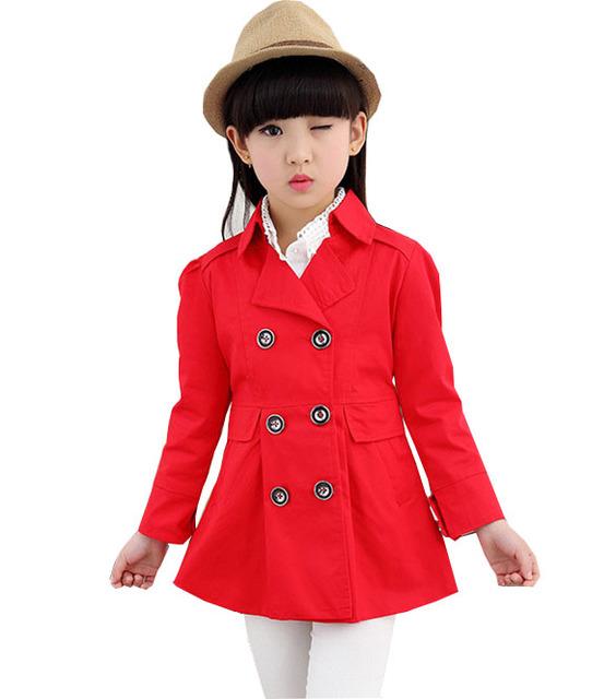 Niños 2016 nuevas de doble botonadura chaqueta hembra Tong Chunqiu chaqueta de las muchachas ropa de bebé niña