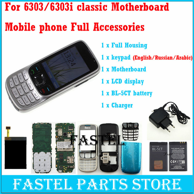 For Nokia 6303c 6303 classic 6303ci 6303i classic Mobile Phone motherboard + LCD+ Housing Cover Case + English / Russian Keypad