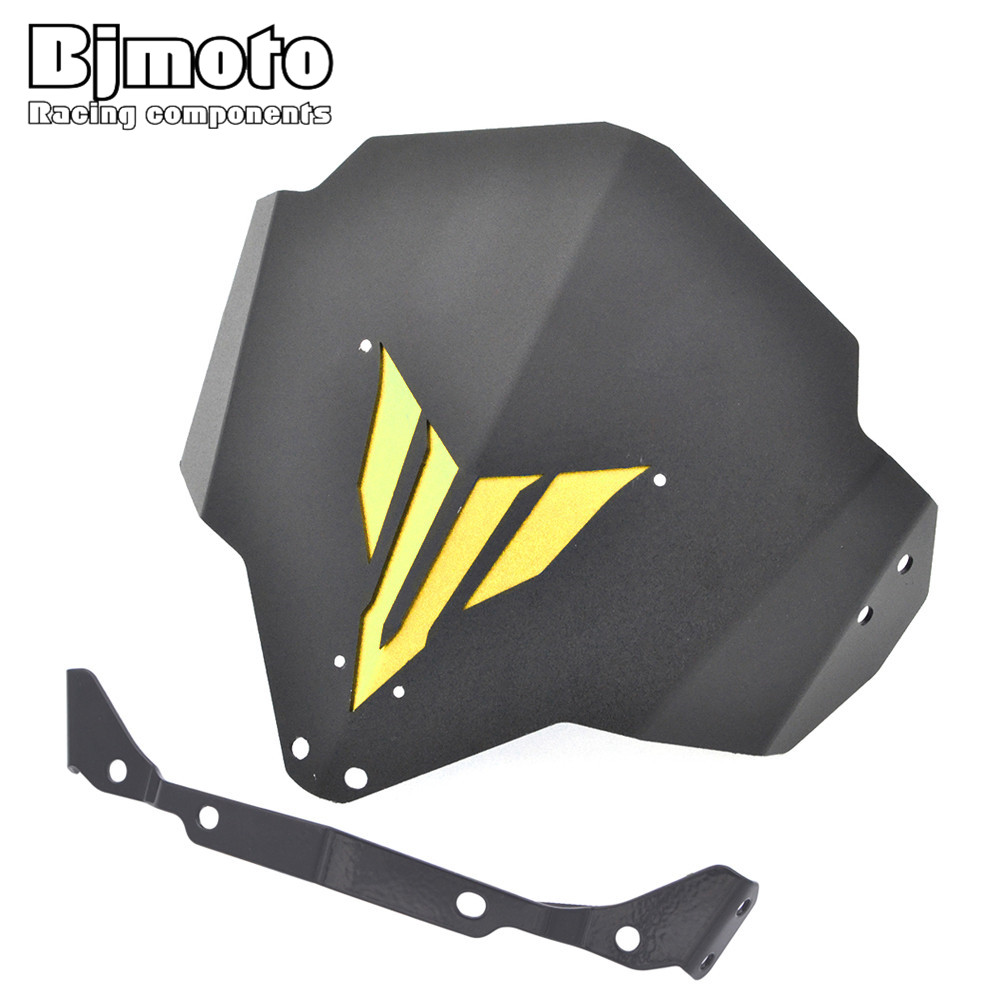 BJMOTO Aluminum Motorcycle Windshield Windscreen For Yamaha MT 03 FZ 03 2015 2018 Motorbike Windscreens Wind