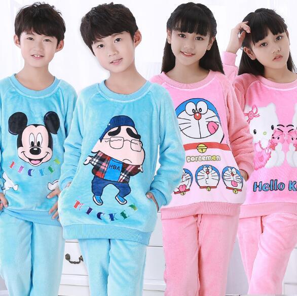 Kinderen Pyjama Herfst Winter Fonds Meisje Jongens Lange Mouw Flanel Coral Down Kids Kledingstuk Nachtkleding Woninginrichting Dienen UE67