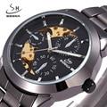 2017 New SHENHUA Brand Men Casual Luxury  Automatic Self Wind Mechanical Wristwatch Full Steel Band Male Clock Relogio Musculino
