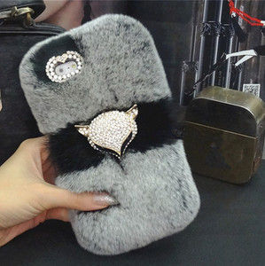 Image 3 - Luxury Bling Fox head Warm Soft Beaver Rabbit Fur Hair case for samsung S10 S20 S9 S8 Plus Note 20 9 8 10 protective phone back