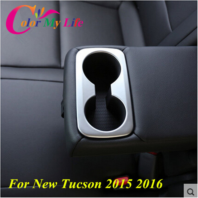 ABS Chrome Rear Seat Water Cup Sticker Water Holder Cover Trim For Hyundai Tucson 2014 2015 2016 Accessories