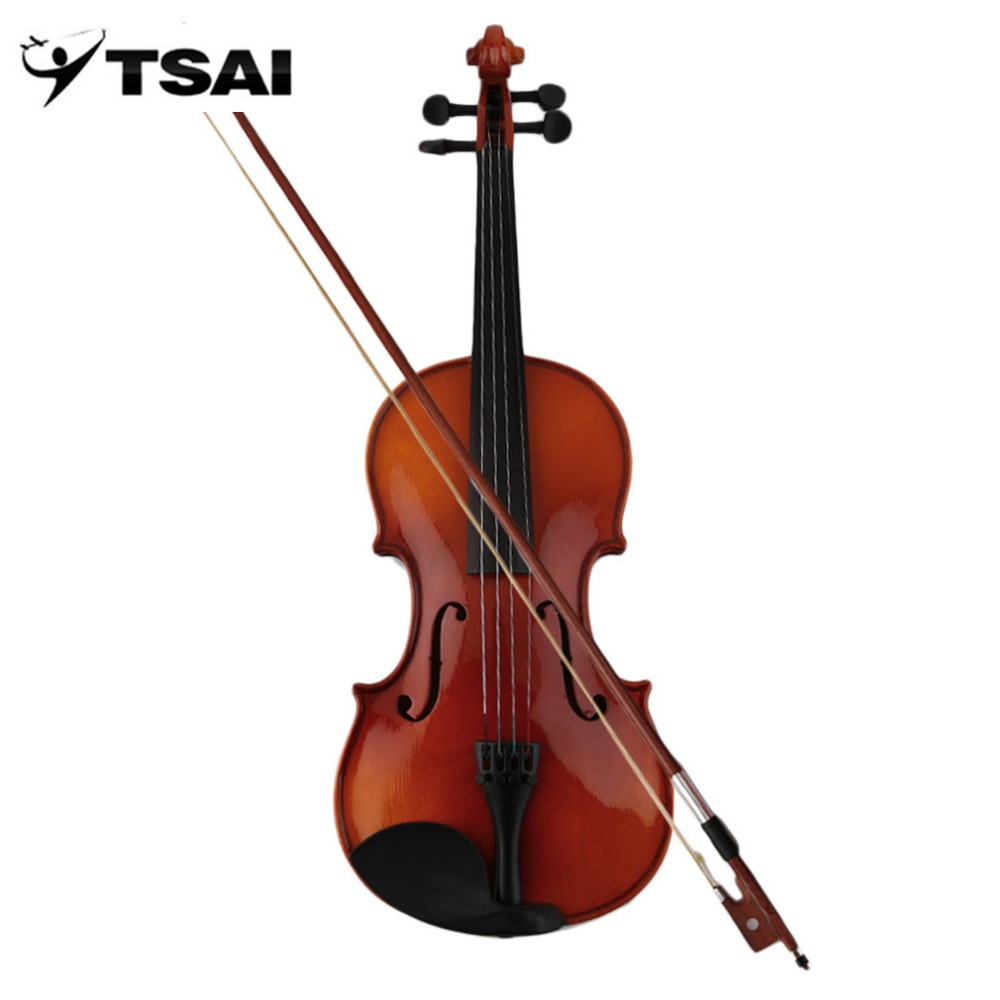 Violin Spruce Solid Wooden 4/4 Lacquer Light Fiddle 4-String Instrument Maple TSAI Solid Wooden Both Beginner Professional Use handmade new solid maple wood brown acoustic violin violino 4 4 electric violin case bow included