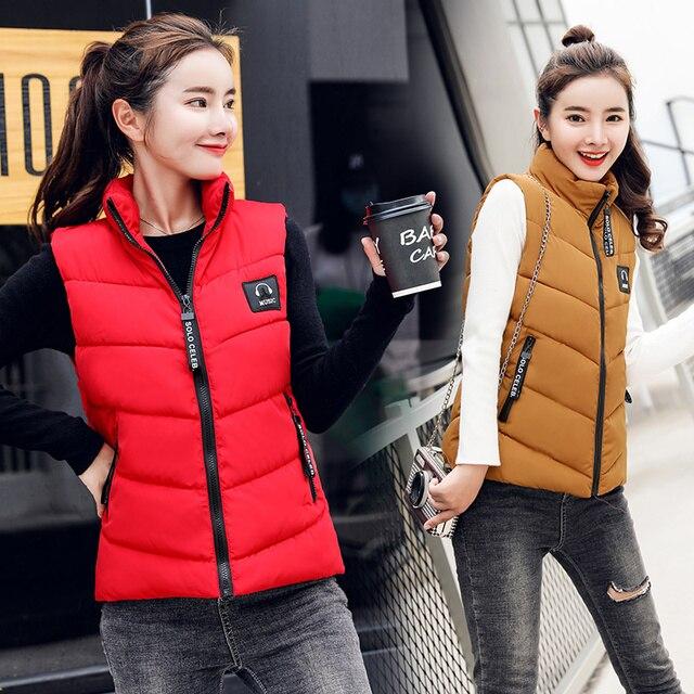 Phụ nữ Mùa Đông Ngắn năm 2018 Áo khoác Mùa Thu chắc chắn làm dày ấm lót bông Áo khoác Cổ Áo Đứng vest không tay M-4XL