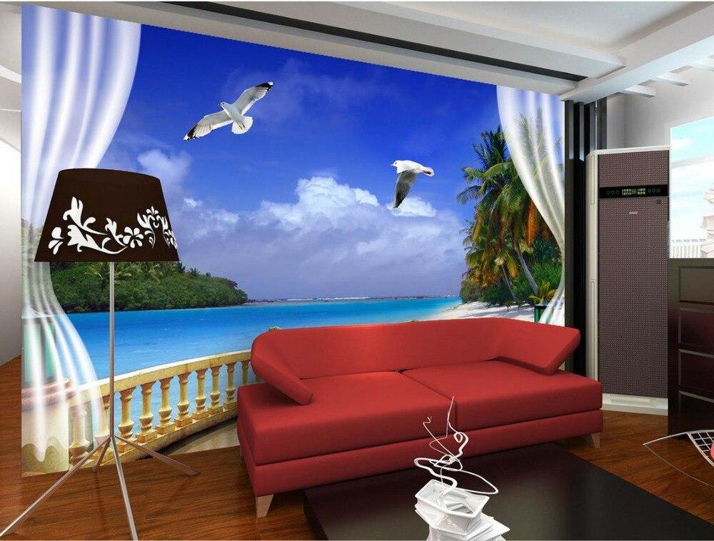 3d Mural Designs Window Views Of The Sea Wall Decoration Non Woven Wallpaper 3d Murals Wallpaper For Living Room