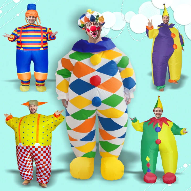 Clown Anime Inflatable Costume Halloween Costumes For Women Men Adult Performance Cosplay Costume Magic Performance Costumes