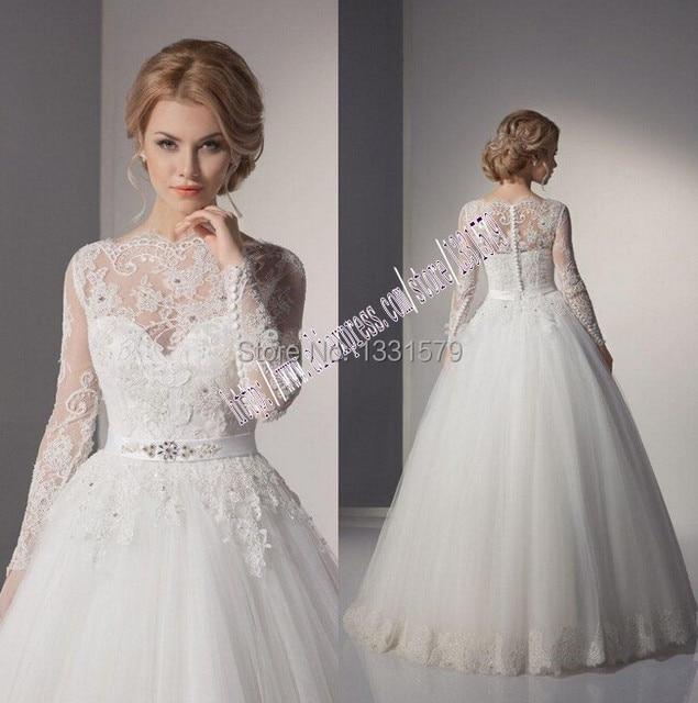 2015 chiffon turtleneck long sleeve wedding dresses lace for Long sleeve turtleneck wedding dress