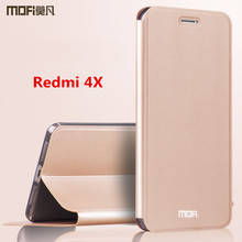 Xiaomi Redmi 4x Case Cover MOFI original Leather Flip case funda for Redmi 4X Stand Holder designed luxury business coque capa(China)