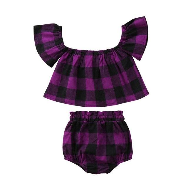 Infant Baby Girls Clothes Set 2018 Summer Kid Girl Purple Black