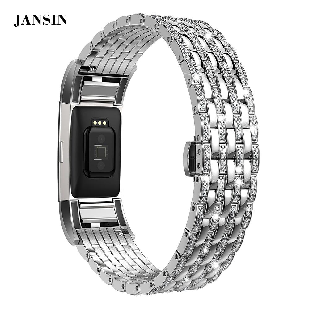где купить JANSIN women Diamond bands For Fitbit Charge 2 adjustable link bracelet watchband Strap for Fitbit Charge 2 band по лучшей цене