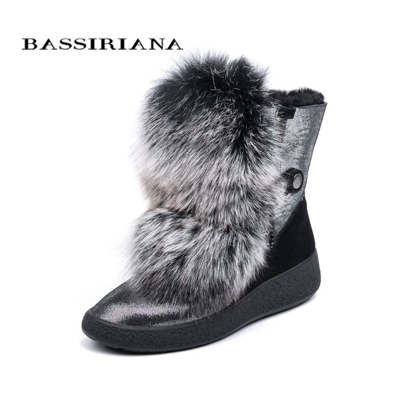 BASSIRIANA 2018 new winter gray and black natural fur warm snow boots women s boots round
