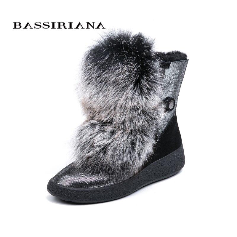 BASSIRIANA 2018 新冬グレーと黒の天然毛皮暖かい雪のブーツ女性のブーツ丸頭 35 40 サイズ  グループ上の 靴 からの ミッドカーフブーツ の中 1