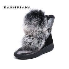 BASSIRIANA/2018 Новый Зимний серый и черный натуральный мех теплые зимние сапоги женские ботинки круглый носок 35-40 размер