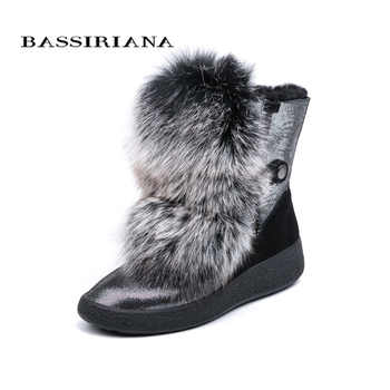 BASSIRIANA 2018 new winter gray and black natural fur warm snow boots women's boots round head 35-40 size - DISCOUNT ITEM  30% OFF All Category
