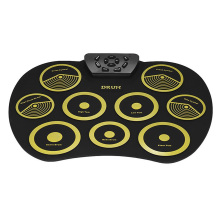 HOT-Portable Electronics Drum Set Roll Up Kit 9 Silicone Pads USB Powered with Foot Pedals Drumsticks Cable