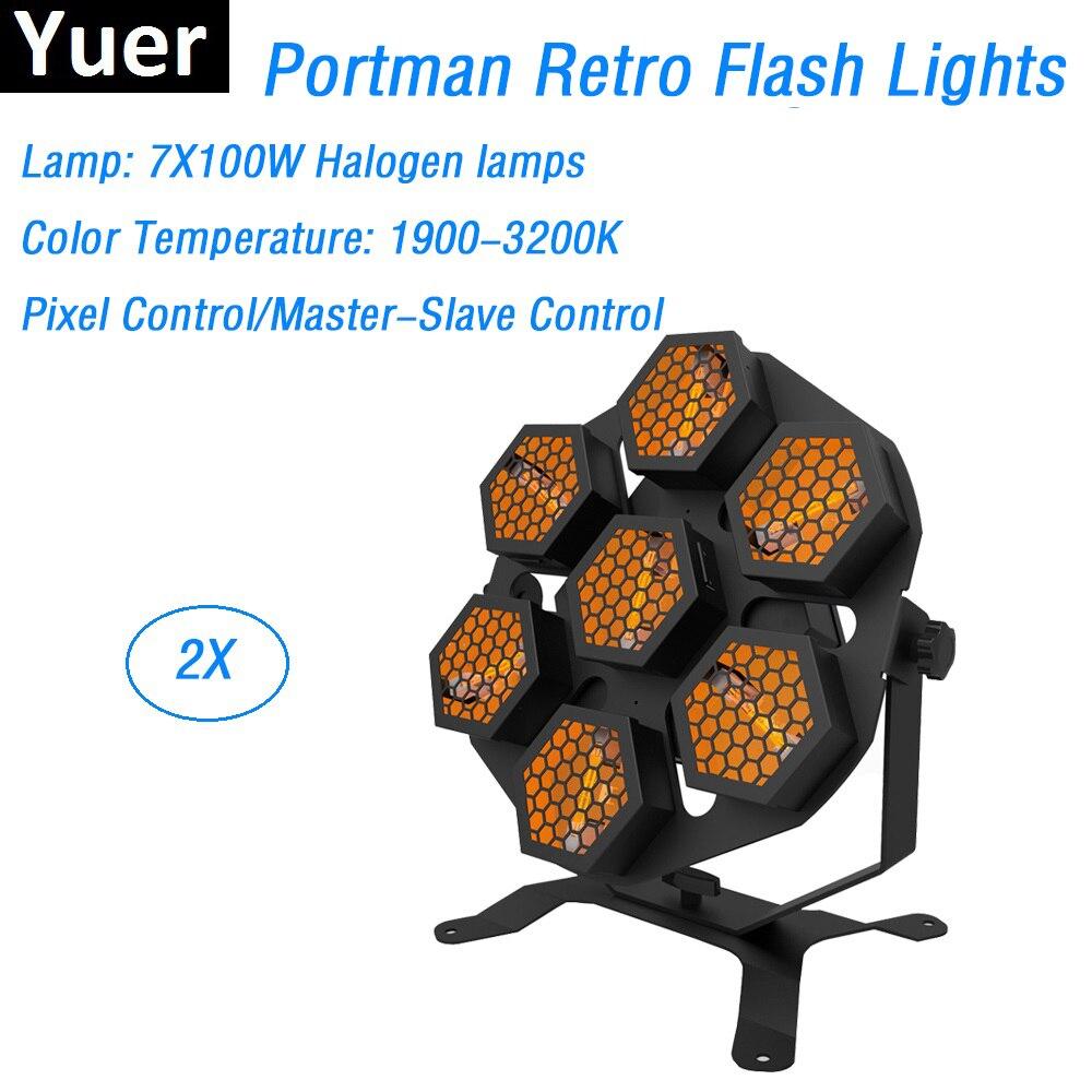 2 Pack Free Shipping Professional Stage Strobe Lights 7X100W Halogen Lamp Retro Flash Light DMX Transport Lights LCD Display