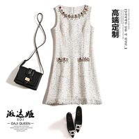 2017 Autumn And Winter Sleeveless Dress Tank Diamonds Sheath Office Lady Tweed Weave Dress Woolen White