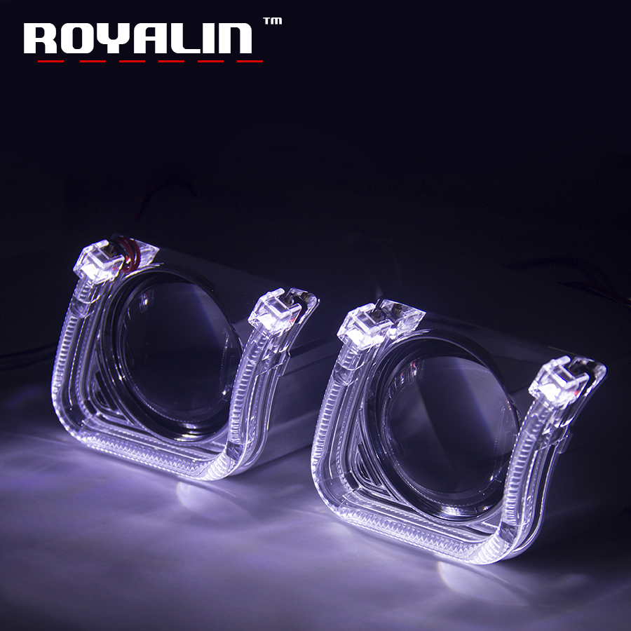 ROYALIN Metal Lens H1 w/ U type LED Angel Eyes LHD RHD for Car Styling Auto Headlight H4 H7 Retrofit Bi-Xenon Projector Lens DIY royalin car styling hid h1 bi xenon headlight projector lens 3 0 inch full metal w 360 devil eyes red blue for h4 h7 auto light