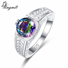 lingmei Wholesale Cocktail Fashion Women Wedding Jewelry Round Multicolor & Black Cubic Zircon Silver 925 Ring Size 6 7 8 9