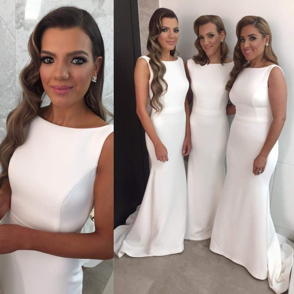 White 2019 Cheap Bridesmaid Dresses Under 50 Mermaid Satin Long Wedding Party Dresses For Women