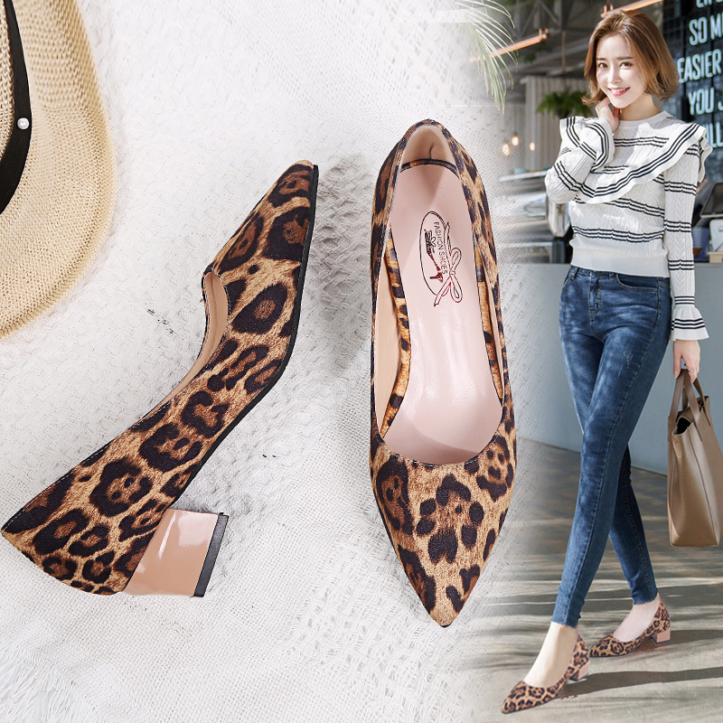 EOEODOIT Med Chunky Heel Faux Suede Shoes Slip On Pumps Women Casual Office Shoes Pointed Toe Sexy Spring Leopard Shoes 4 cmEOEODOIT Med Chunky Heel Faux Suede Shoes Slip On Pumps Women Casual Office Shoes Pointed Toe Sexy Spring Leopard Shoes 4 cm