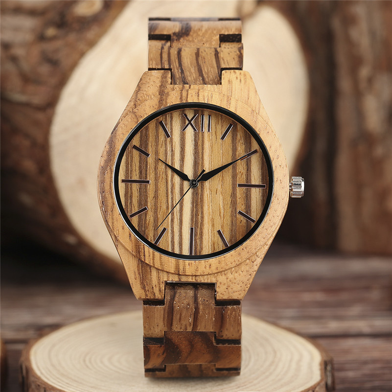 Creative Zebra Pattern Full Wooden Watch Men Bamboo Women Watches Wood Modern Analog Simple Clock Bangle Fashion Gift 2017 New vintage wooden wristwatch full wood case analog classic zebra pattern band male female clock simple sport quartz watch relogio