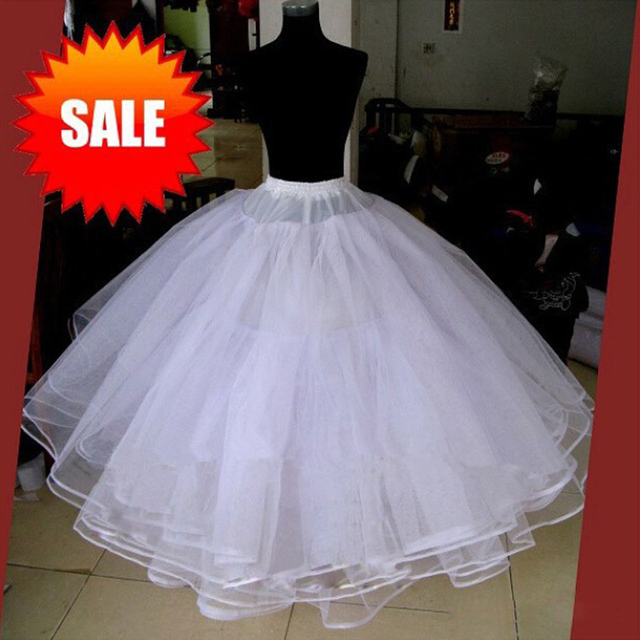 White Without Hoops 4 Layers Wedding Accessories Petticoats For Wedding Dress Tulle Underskirt Ball Gown Petticoat Skirt