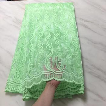 2019 High Quality Nigerian French Lace African Lace Fabric Green Flower  Guipure Mesh Lace For Party Dresses India Tissu