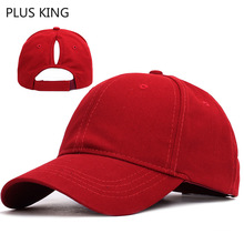 Solid Color Ponytail Baseball Cap Women Ladies Hat Open Mouth Red Pink White Black 5 Colors