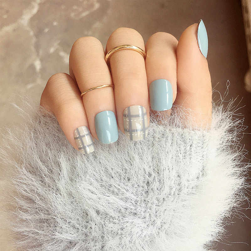 NEW 24 Pcs/set Blue Grey Style DIY Art Short Fake Sticker Nail Tips Acrylic False Stickers With Glue Gel
