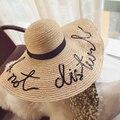 Estilo caliente estaba a bordo de gran sombrero de paja mujeres niñas sombrero de sol de moda uv proteger gran playa del verano del arco vacaciones